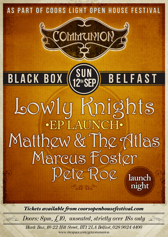 Belfast Communion Launches 12th September at Black Box