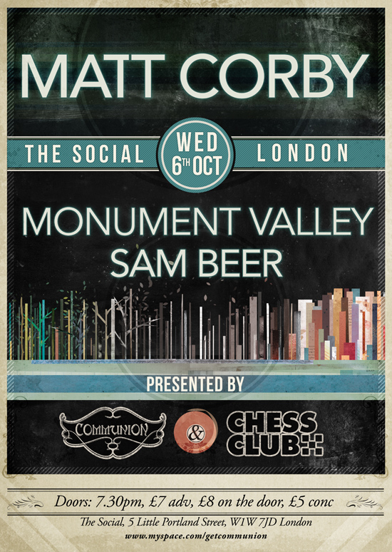 Matt Corby Headline Show at the Lexington 6th October