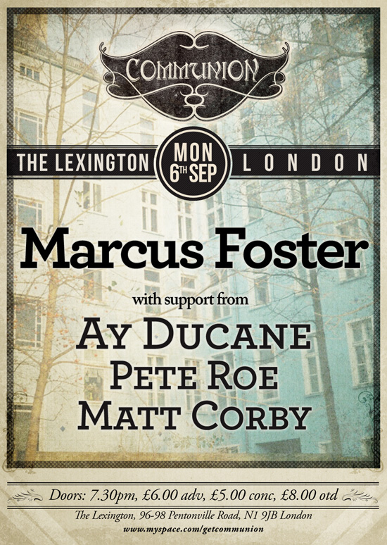 Marcus Foster Headline Show at the Lexington