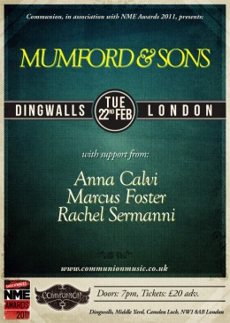 Shockwaves NME Awards Show 2011 with Mumford and Sons – TICKETS NOW ON SALE