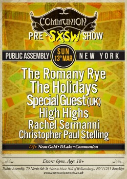 Communion NYC Pre-SXSW show, THIS Sunday!