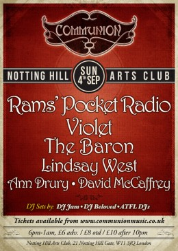Communion returns to Notting Hill Arts Club – 4th September