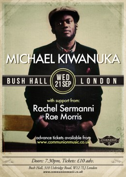 Michael Kiwanuka Show at Bush Hall 21 September Poster