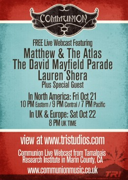 Free Live Webcast Performance at TRI Studios Oct 21st