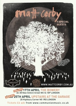 Matt Corby Upstairs at the Garage & The Bowery April 2012 *UPDATE*