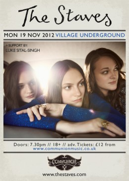 The Staves Village Underground November 2012 Gig Poster