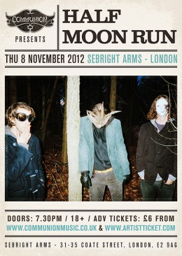 half moon run sebright arms london nov 2012 gig poster