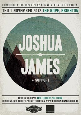 joshua james hope brighton november 2012 gig poster
