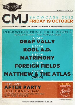 Communion CMJ Showcase 2012 Gig Poster
