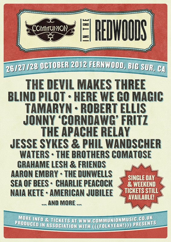 Communion Redwoods Festival 2012 Lineup 4 Gig Poster