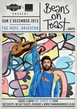 Beans on Toast live at the Hope Brighton December 2012 Gig Poster