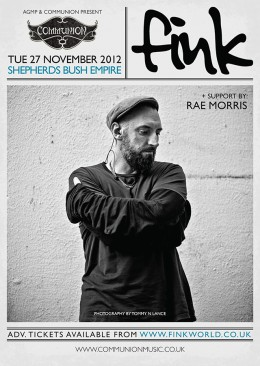 Fink Shepherds Bush Empire November 2012 Gig Poster