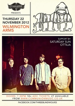 Three Blind Wolves Wilmington Arms November 2012 Gig Poster