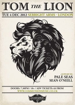 Tom the Lion Sebright Arms London December 2012 Gig Poster