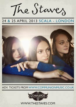 the staves scala april 2013 gig poster