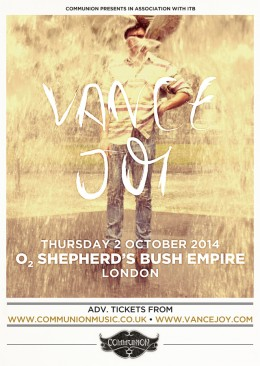 Vance Joy to headline O2 Shepherds Bush Empire in October